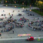 Новгородцы устроили на площади велосипедный перфоманс: фото