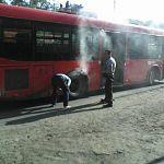 В Великом Новгороде горел автобус