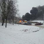 В Великом Новгороде горит автобус