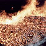 В Парфинском районе сгорел склад с углём