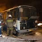 В «круглом гараже» ночью сгорел автобус