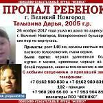 В Великом Новгороде пропала девочка