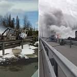 В Новгородской области на трассе М-11 сгорела фура с едой и туалетной бумагой