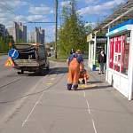 В Великом Новгороде наносят разметку на автобусных остановках для социальной дистанции